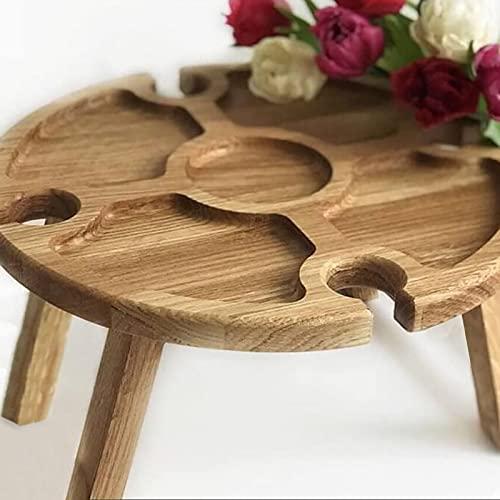 NGLSCXR Holz Outdoor Folding Picknicktisch mit Glashalter Runde Faltbare Schreibtisch Kreative zusammenklappbare Tabelle für draußen Stilvolle Mini Picknicktisch Romantische Abendessen Strand Camping