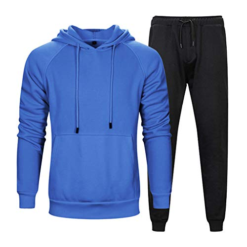 KINGOLDON Two-Piece Hooded Autumn and Winter Men's Hood Loose Casual Solid Color Sweater Blue