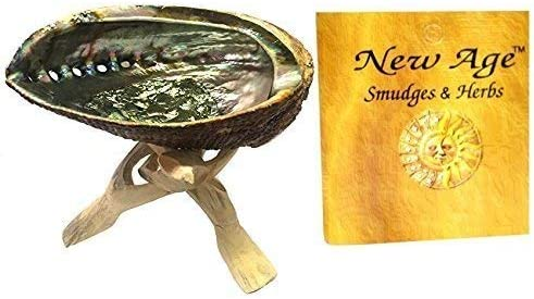 lowest New Age Smudges lowest & Herbs 5 - 6 inches Premium Natural Abalone Shell &Wooden Stand~ Smudging, Cleansing Home, Meditation, Incense Holder, Home online Décor, 100% Natural & Sustainable. outlet sale