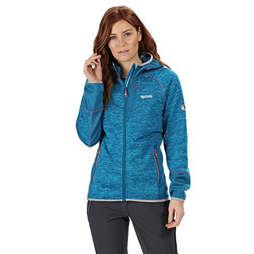 Regatta Damen Willowbrook VI Extol Stretch Marl Knit Effect Hooded Fleece, Petrol blau/Petrol, 10