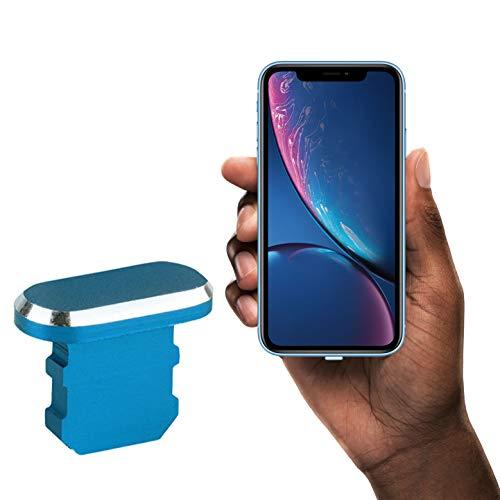 innoGadgets Enchufe de protección contra el Polvo Compatible con el iPhone 7/8/X/Xs/Xr/11/11Pro/SE/12/12Pro | Enchufe de protección contra el Polvo | Aluminio iPhone + Clip de Silicona Gratis | Azul