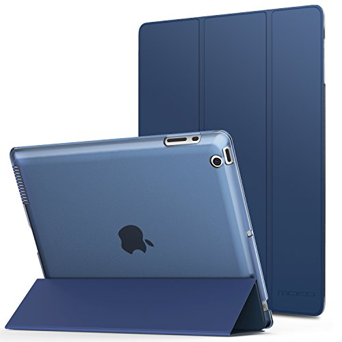MoKo Case Fit iPad 2/3/4 - Ultra Lightweight Slim Smart Shell Stand Cover with Translucent Frosted Back Protector Fit iPad 2/The New iPad 3 (3rd Gen)/iPad 4, Navy Blue (with Auto Wake/Sleep)