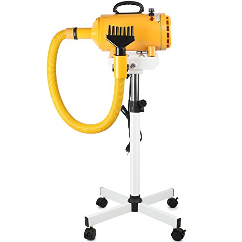 Free Paws Dog Pet Dryer Stand with 4.0 HP 2 Heat Stepless Airflow Grooming Dryer Combo, 2 Speed Heat Adjustable Dog Dryer with 5 Different Nozzles and 1 Hands Free Arm (Yellow)
