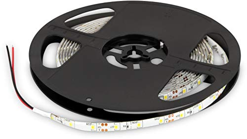 Ruban LED 5 m 12 V IP65 à intensité variable - 24 W 1200 lm - SMD 300 x 3528 60SMD/m - Autocollant - 8 mm - Blanc chaud (3000 K)