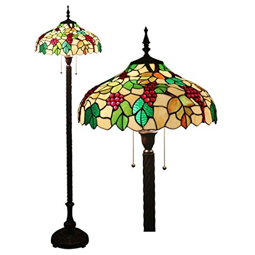 16 Inch Tiffany Style Floor Lamp Stained Glass Floor Lights Reading Standing Light for Living Room Bedroom Office, Zipper Switch, E27-2 Lights (Design : 1) (Color : 2)