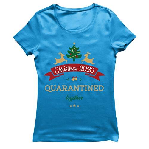 lepni.me Camiseta Mujer Navidad 2020 en Cuarentena Quntos Año del Desgaste del Encierro (XX-Large Azul Multicolor)