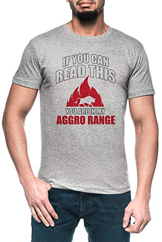 If You Can Read This You Are In My Aggro Range Hombre Gris Camiseta Manga Corta Men's Grey T-Shirt
