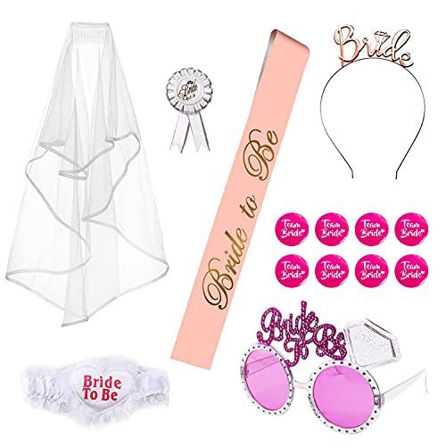 14 unidades de despedida de soltera para novia de ser Bride to Be Satin Sash Diadema Velo de novia y gafas rosa, Team Bride Tatuajes y broches