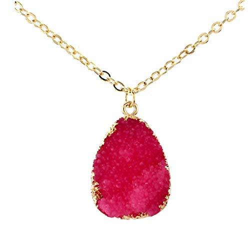 DAKIFENEY Resina druzy piedra rebanada cuarzo cristal colgante cadena collar joyería de la manera,collar de la manera-rosa rojo