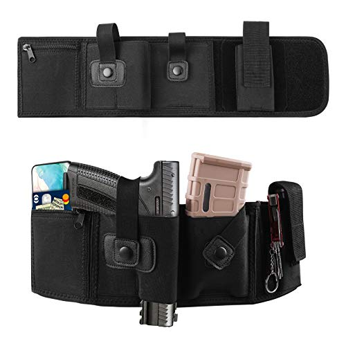 PVNOOCY Belly Band Holster for Concealed Carry, Breathable Neoprene Waistband Gun Holster for Women & Men Fits Glock, Ruger LCP, S&W M&P 40 Shield Bodyguard, Ruger, Kahr, Beretta, 1911