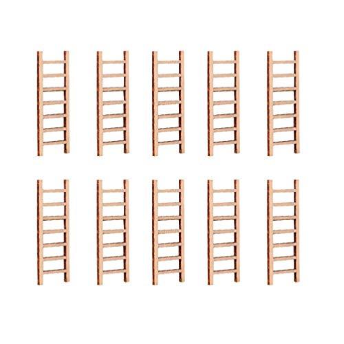 UPKOCH 10 miniescaleras de madera, casa de muñecas, escaleras, jardín de cuento de hadas, miniatura, escaleras decorativas, bonsáis, paisajes ornamentales