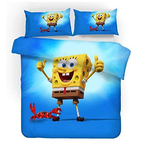Enhome Bettbezug Bettwäsche Set, 3D Comics Spongebob Druck Bettwäsche-Set Mikrofaser Weiche mit Reißverschluss Bettbezug & Kissenbezüge für Teens Adult (SquarePants3,135x200cm(2pc))