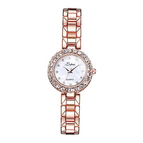 Sharplace Reloj de Pulsera de Lujo con Diamantes para Mujer, Reloj de Cuarzo, Reloj de Pulsera, Regalo de Joyería de Moda - Reloj de Oro Rosa