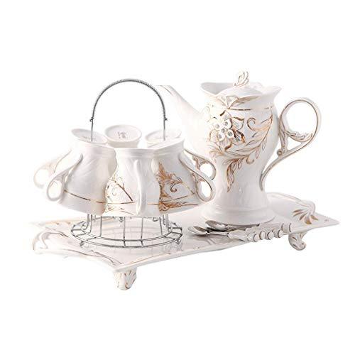 Juego de té Juego de té Lanzamiento de un nuevo pr Juego de té de cerámica creativo de 16 piezas, taza de café y platillo, con soporte de metal, conjunto de tazas de té de porcelana, para jardín de la