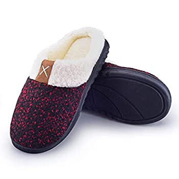 Women s Slip on Fuzzy Slippers Memory Foam House Slippers Cashmere Cotton Outdoor Indoor with Anti-Skid Rubber Sole