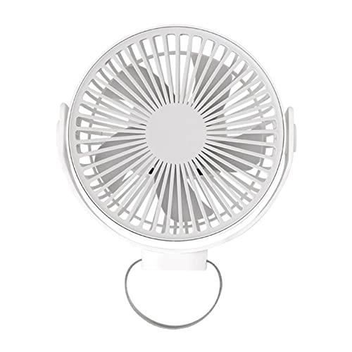 FSLLOVE FANGSHUILIN 360 Grad-Umdrehung 7-Inch USB Wiederaufladbare 4000mAh Schreibtisch Ventilator hängend Fan 4 Speed Deckenventilator gepasst für Camping-Zelt im Freien Startseite (Color : White)