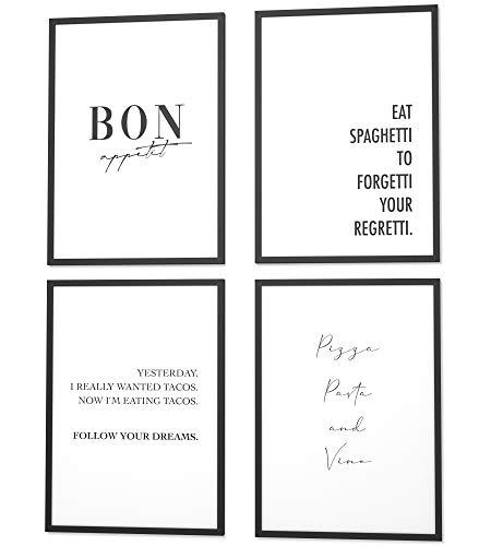 Papierschmiede® Spruch-Poster 4er-Set in 40x60 cm | Motiv: International Kitchen | Typografie-Bilder Küche Esszimmer ohne Rahmen