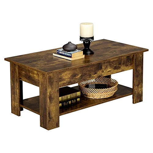 Topeakmart Lift Top Coffee Table w/Hidden Compartment and Open Storage Shelf, Vintage Lift Tabletop for Living Room Office, Rustic Brown