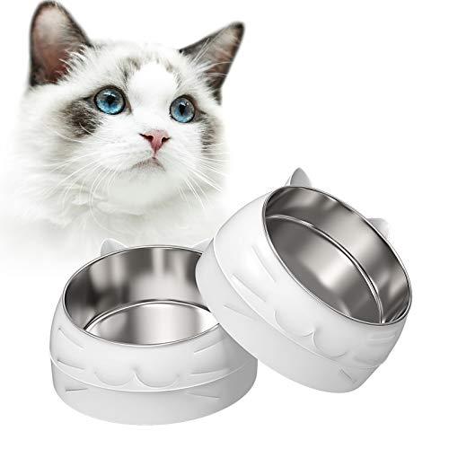 2 Stück Katzennapf Futternapf Nicht verschüttet und rutschfeste Fressnapf aus Edelstahl, Fressnapf Katze Katze Welpe Hamster Kaninchen Kleine Tiere (400ML+200ML) MEHRWEG