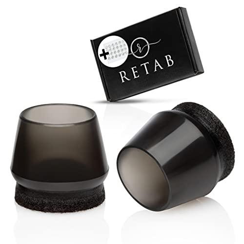 RETAB  Stuhlbeinkappen - 24 Silikon Stuhlbeinschoner für 6 Stühle - Runde Stuhlbeinüberzieher Filz - Schwarze Schutzkappen für Stuhlbeine - Stuhlschoner Boden in 20-24mm - inkl. Klebepunkte