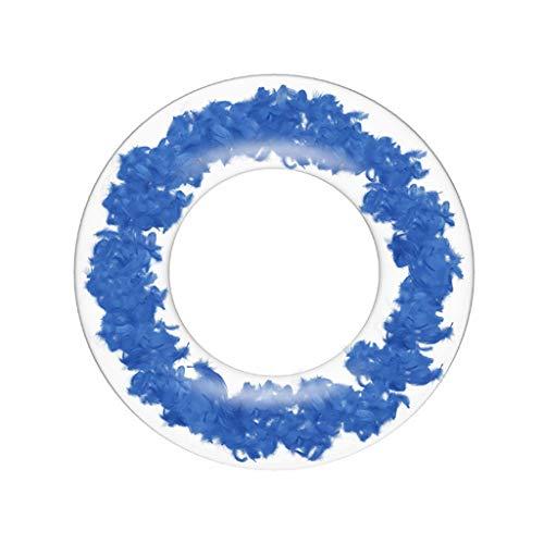 CHshe Aufblasbar Schwimmring Erwachsener Federmuster Transparent Schwimmring Verdicktes PVC Sommer Schwimmhilfe Spielzeug (80CM)