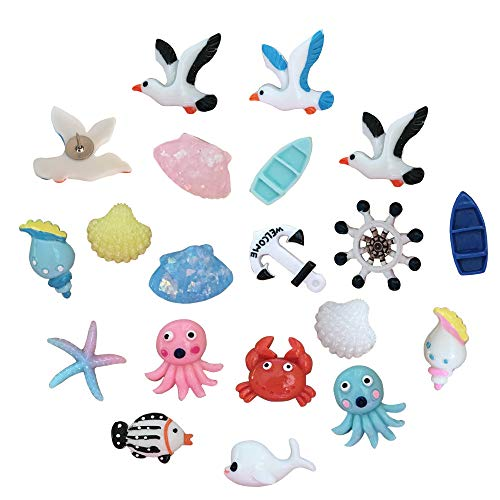 EnewLife 20 Pcs Creative Decorative Cute Ocean Thumb Tacks ThumbNails PushPins Push Pins Soft Flat for Photos Wall, Maps, Bulletin Board or Corkboards (20 Pcs Ocean Pins)