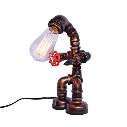 Tubería de agua Robot Lámpara mesa, Desván Antiguo Retro Industrial Metal LED Escritorio Acento Lamparas E27 Lámpara de noche Mesita noche Cabecera Café Bar Decorativo Luces, Cambiar Botón,30*18cm