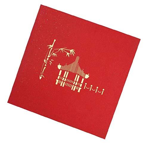 3d-pop-up-karte Chinesischer Pavillon Feiertags-gruß-karte Hochzeit Geburtstag Muttertag 3d-geschenk-karten-rot
