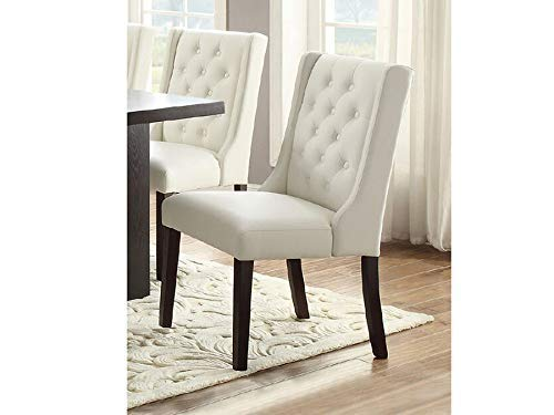 Set of 4 Casual White Faux Leather Dining Chairs with Diamond Tufting Back