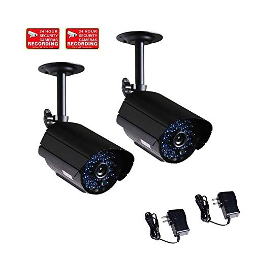 VideoSecu 2 Outdoor CCTV Infrared Day Night Vision Bullet Security Cameras Weatherproof 520TVL High Resolution 36 IR LEDs for DVR Home Surveillance with Power Supplies WK8