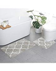 2-delad halkfri sockel badmatta uppsättning, alternativ andningsfunktionell minnesskum badmattor mjuk bekväm vattenabsorberande toalett badrumsmatta halkfri piedestal baksida