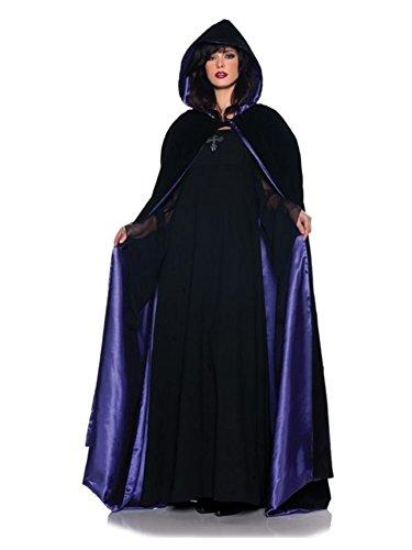 Kapuzencape 160cm Deluxe Schwarz & Violett Samt & Satin Kostüm Umhang für Erwachsene Standard