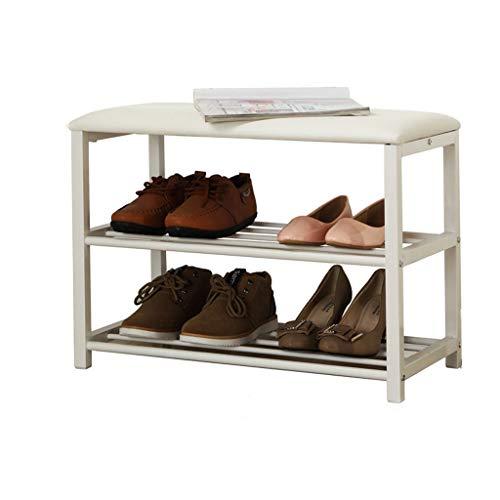 LHQ-HQ Qaryq - Zapatero de estilo europeo para zapatos, banco de piel de hierro forjado largo, 60 x 30 x 45 cm