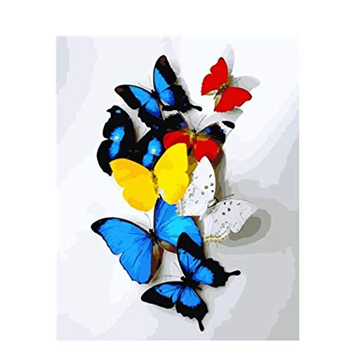 DIY Diamond Painting Kits for Adults, 5D Diamond Painting Full Drill Round Cross Stitch Embroidery Painting,Diamond Art Perfect for Home Wall Decor Gift - A Group of Butterflies,16 x 16 inch