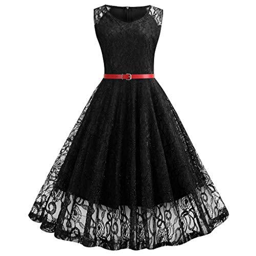 Vimoli Kleider Damen Kleid Abendkleid Elegant 50er Jahre Kleider Cocktailkleid Ärmellos Partykleid Rockabilly Kleid(Schwarz,De-40/CN-L)