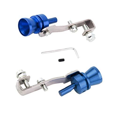 BESPORTBLE 2 Piezas Turbo Sonido Silbato Válvula de Tubo de Escape Del Coche Moto de Aluminio Soplador Fabricante de Sonido Modificado Silbato de Cola (S Azul)