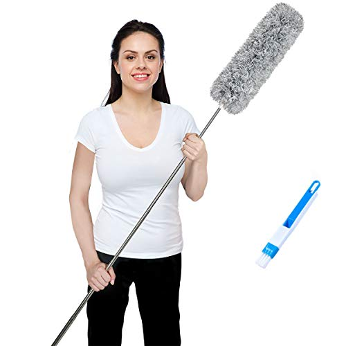 Microfiber Duster with Extendable Handle Extension Pole Extra Long 100 inches, Washable Bendable Head Lint Free Feather Dusters for Cleaning Car High Ceiling Fan Cobweb Blinds Keyboard Furniture Home