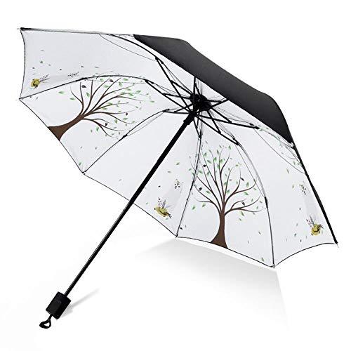 xmwm Sombrilla de vinilo para lluvia o brillo protector solar de doble uso para hombres y mujeres, el mismo párrafo tres manual plegable, A, talla única