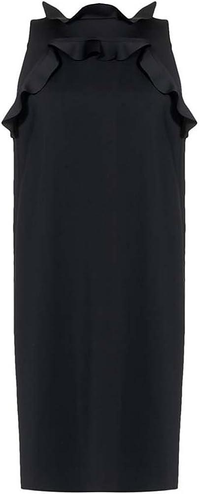 LANVIN Women's Black Neoprene Ruffled Shift Dress, Size 36/ US 6
