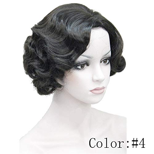 DER 1920 Flapper Frisuren for Frauen Finger Wave Perücken Retro Style Kurze synthetische Perücke (Color : #4, Stretched Length : 8inches)