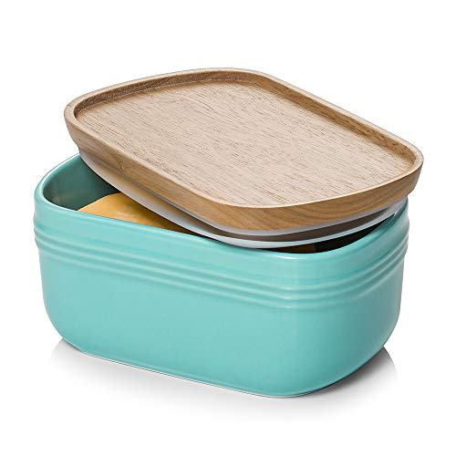 DOWAN Porcelain Butter Dish, Extra Large Butter Dish with Cover, Airtight Butter Dish with Wooden Lid, Farmhouse Butter Container for East West Coast Butter, Freezer Safe, Turquoise