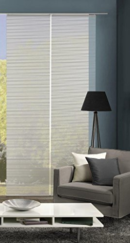 Vision S 55401 | 2er-Set Schiebegardine ROM | halb-transparenter Stoff in Bambus-Optik | 260x60 cm | Farbe: (grau)