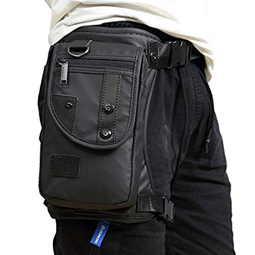 HCoolfly Oxford Leg Bag for Men Motorcycle Riding Women's Fanny Pack Outdoor Travel Fishing Hiking Cycling Black