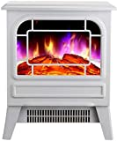BJYG Estufa eléctrica para Chimenea 2000W con Efecto Llama de Fuego Estufa de leña eléctrica portátil Efecto Blanco