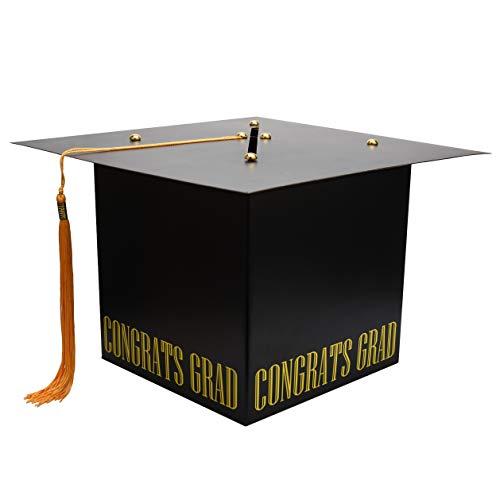 MerryJoyParty Graduation Card Box Graduation Card Holder Original Graduation Cap Shaped Card Box with Real Tassel for Graduation Party Supplies