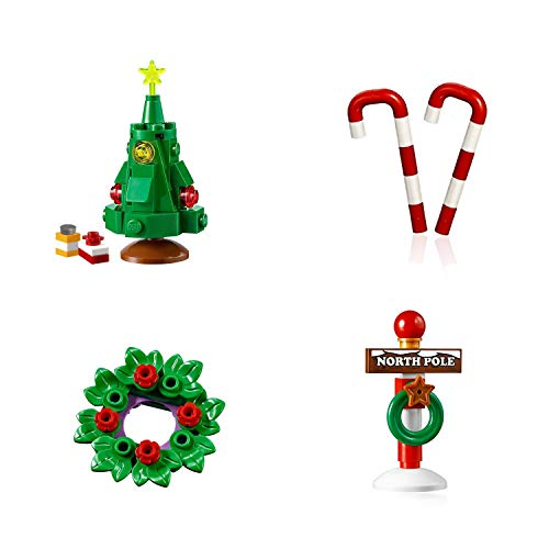 LEGO Holiday Combo Pack - Christmas Tree with Presents, Holiday Wreath, 2 Candy Canes, and Santa's North Pole Stand