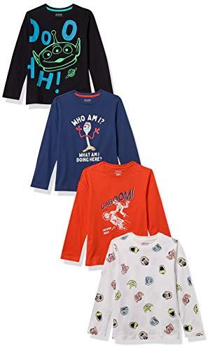 Spotted Zebra Boys' Kids Disney Star Wars Marvel Long-Sleeve T-Shirts, 4-Pack Toy Story Friends, Large