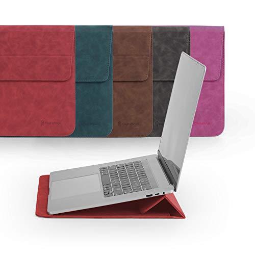 Omnpak Funda Portátil 14 Pulgadas con Función de Soporte, Sleeve Cuero Compatible Huawei Matebook D 14 / 14' Acer Chromebook / 14' Lenovo Chromebook / 14' ASUS Chromebook, Rojo