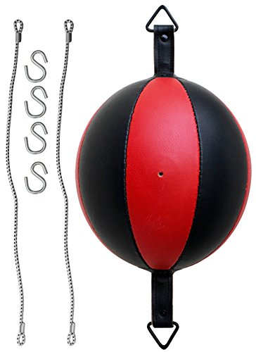 AQF Leather Double End Dodge Speed Ball MMA Boxing Ceiling Punching Bag Training (Black & Red)