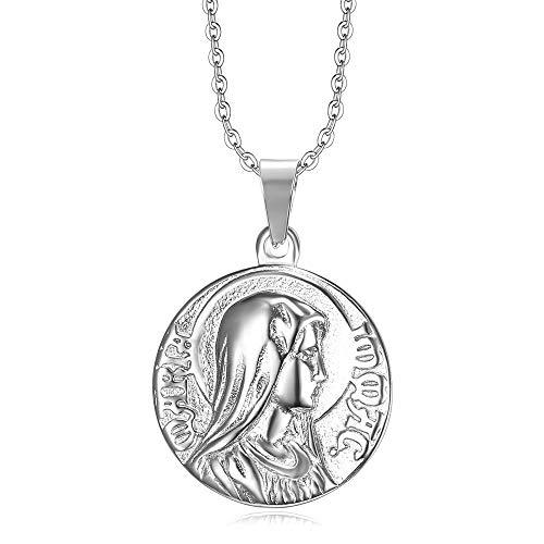 BOBIJOO JEWELRY - Colgante Medalla Milagrosa de la Inmaculada Concepción de la Bienaventurada Virgen María de Plata de Acero 316L